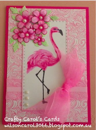 Background Stamp : JustRite - Elegant Fronds Memory Box-Cross Stitched Framed Border Hero Arts Stamp: Color Layering Flamingo Heartfelt Creations- Posy Patch Cheery Lynn: Flourish Leaf Strip Ribbon and Pearls