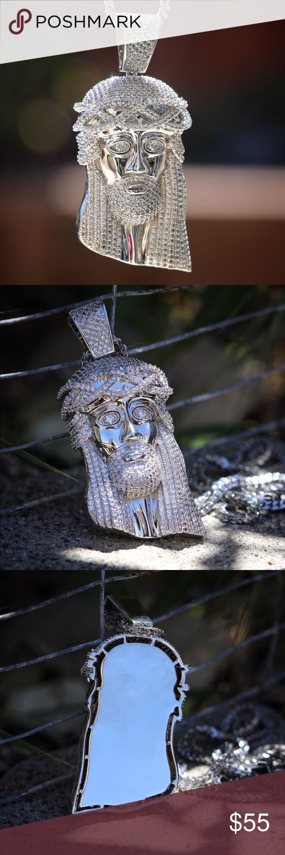 Large White Gold Plated Jesus Piece Necklace Large Iced Out White Gold Plated Jesus Piece Necklace  Large size Jesus Piece size 3.5 inches in length.  Fully iced out in white lab simulated diamonds.  3mm width 30 inch 316 stainless steel franco chain is includded. TSV Jewelers Accessories Jewelry