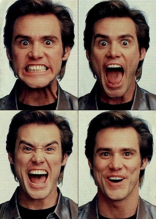 I enjoy these specific types of pictures as there are a number of different facial expressions demonstrated by the same person. Jim Carrey is known for his wild and weird facial expression, which can link to the theme of disorder, and how people commonly don't display those specific emotions.