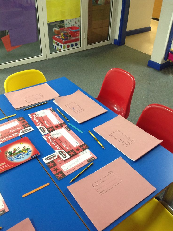 Set up for RWI lesson with red ditty books and busy books where the children record.