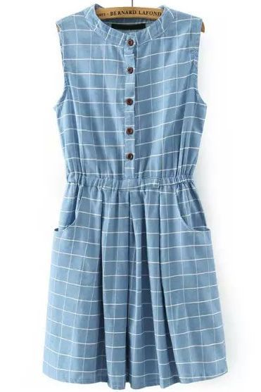 Light Blue Sleeveless Plaid Buttons Denim Dress - abaday.com