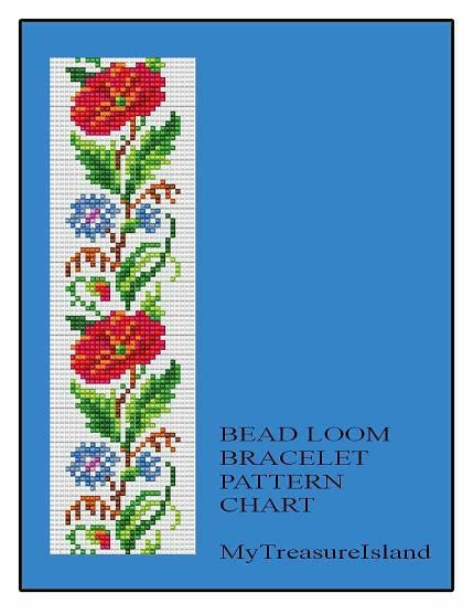 Bead Loom Floral Border 4 Bracelet Pattern by MyTreasureIsland, $5.50