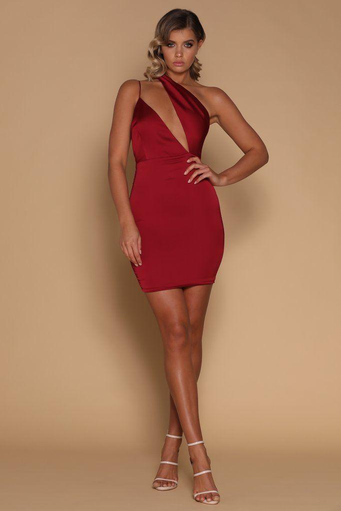 425659954a35 Aleena Asymmetrical Mini Dress - Burgundy - MESHKI   Meshki Clothing ...