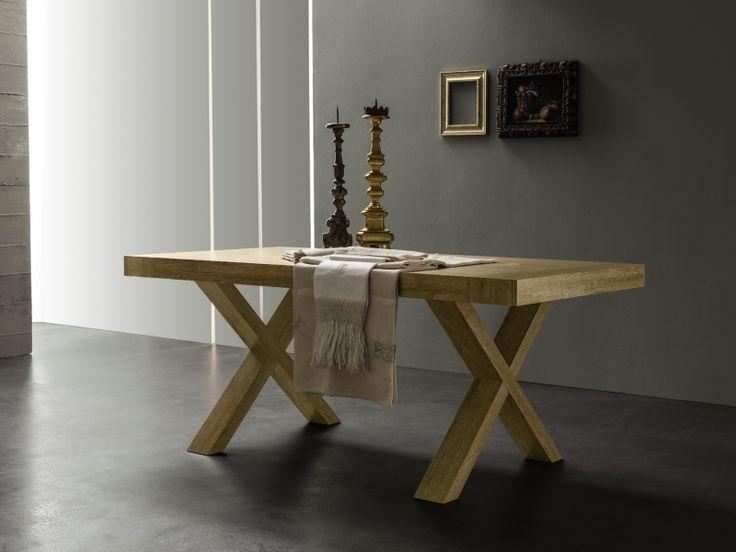 Tavolo allungabile Post in melaminico bianco rustico o rovere naturale rustico.