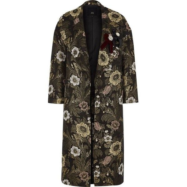 River Island Gold floral jacquard brooch embellished coat ($260) ❤ liked on Polyvore featuring outerwear, coats, coats / jackets, gold, women, floral coats, bow coat, river island coats, long sleeve coat and river island