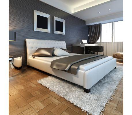 Luxe kunstleren bed met matras 180 x 200 cm (Wit)
