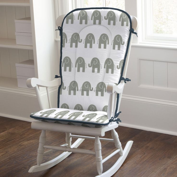 Rocking Chair Pad in Navy and Gray Elephants by Carousel Designs.