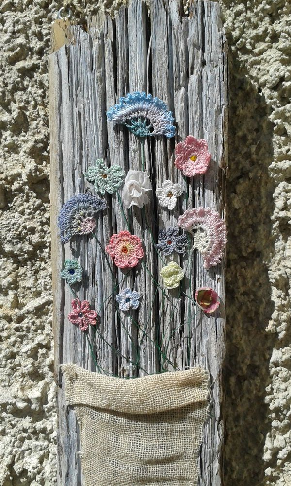 Hand made vintage style pastel cotton summer flowers on driftwood wall hanging