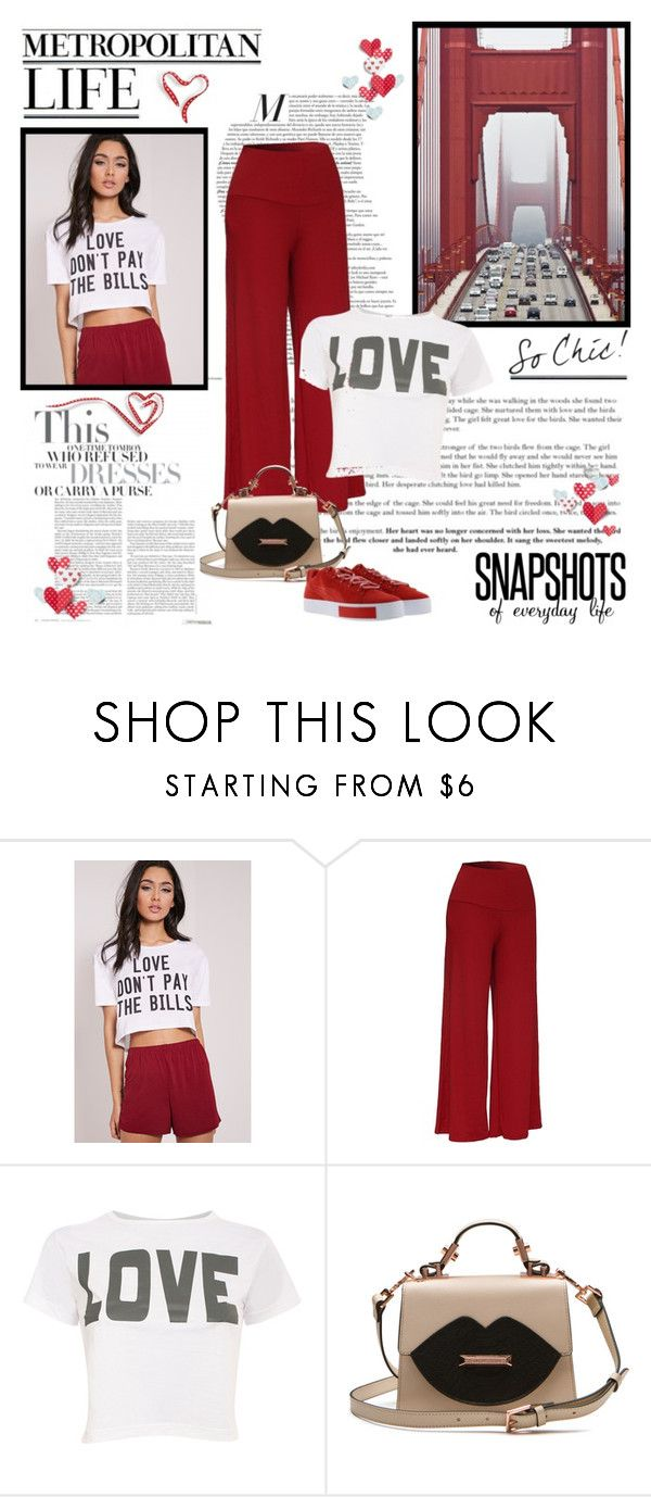 """""""Casual every day"""" by molly2222 ❤ liked on Polyvore featuring Pilot, Puma, croptop, platformsneakers, palazzopants, elasticwaistband and lipsprint"""