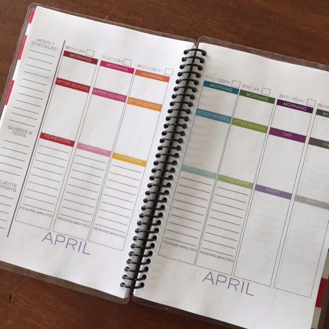 Homework planner book
