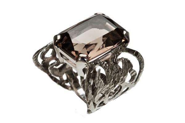 White gold ring with Smokey Quarts  http://www.topiaryandashe.com/
