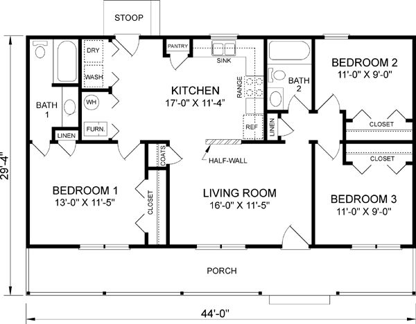 Floor plan | One-story ranch farmhouses with wrap-around