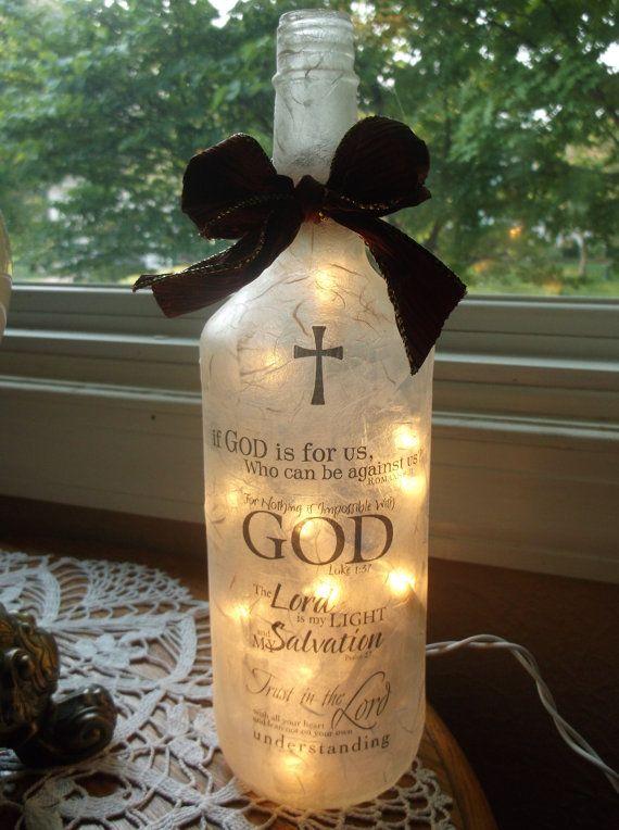 Christian Theme Wine Bottle Lamp wine bottle light by songbird58