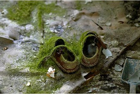 baby's shoes - Chenobyl - nature reclaims http://www.puppiesandflowers.com/blogimages/aug2008/chernobyl1.jpg