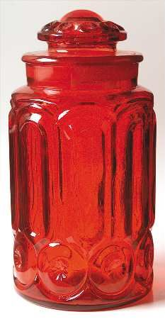 Smith Glass Moon and Stars Red Flour Canister $220