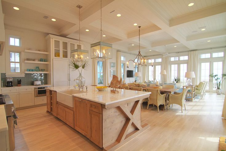 Meredith McBrearty - PORTFOLIO - florida beach house. I love the x frame at the end of the island.