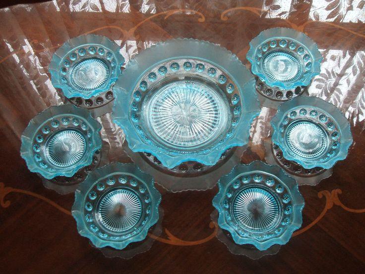 #vintage #ebay Rare Star-Cut Cerulean Blue Depression Glass Serving Trifle Bowls Dessert Dishes
