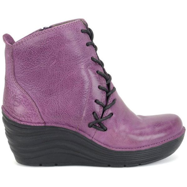 Bionica Corset Women's Purple Boot 7.5 M ($140) ❤ liked on Polyvore featuring shoes, boots, purple, wedge ankle boots, bootie boots, lined boots, slip resistant boots and purple boots