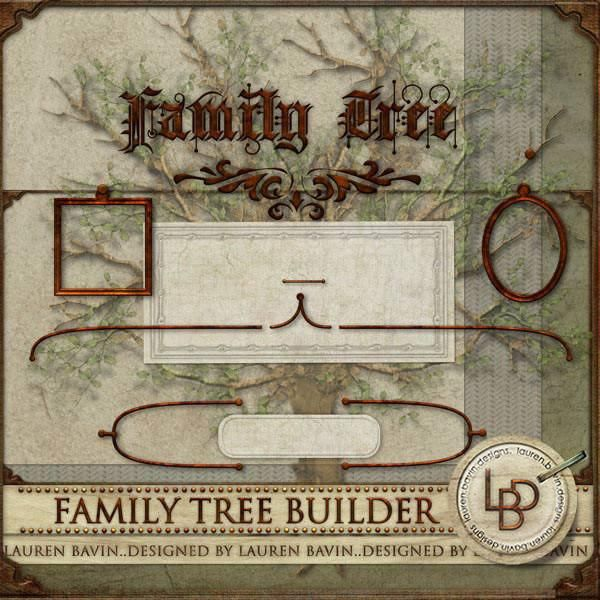 Family Tree Builder Use this kit to build a simple multi generational family tree. With a choice of 3 backgrounds and a tree overlay to use in the background create a tree in either landscape or portrait orientation, covering one single page or a double spread, there are pieces here to help you display your genealogy research in a simple and elegant way.