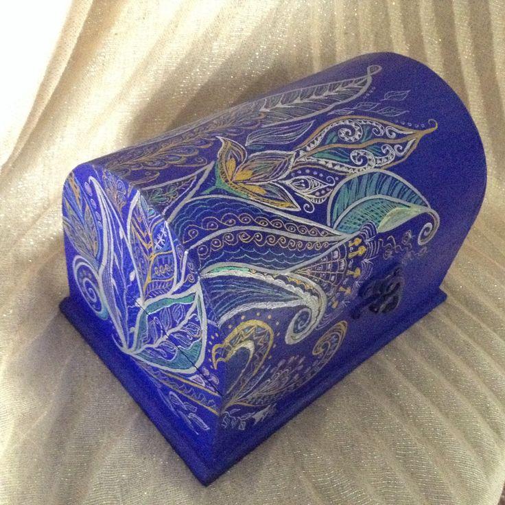 Ethnic batik style Wooden jewelry keepsake box, decorative box, jewelry case, handpainted, gift box. by EthnicDrops on Etsy https://www.etsy.com/listing/400564739/ethnic-batik-style-wooden-jewelry