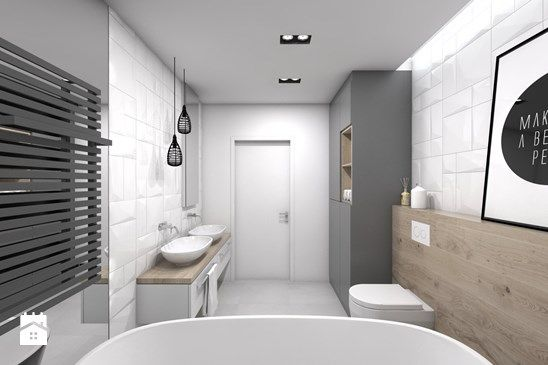 Projekt domu jednorodzinnego 3 - Duża łazienka bez okna, styl skandynawski - zdjęcie od BAGUA Pracownia Architektury Wnętrz