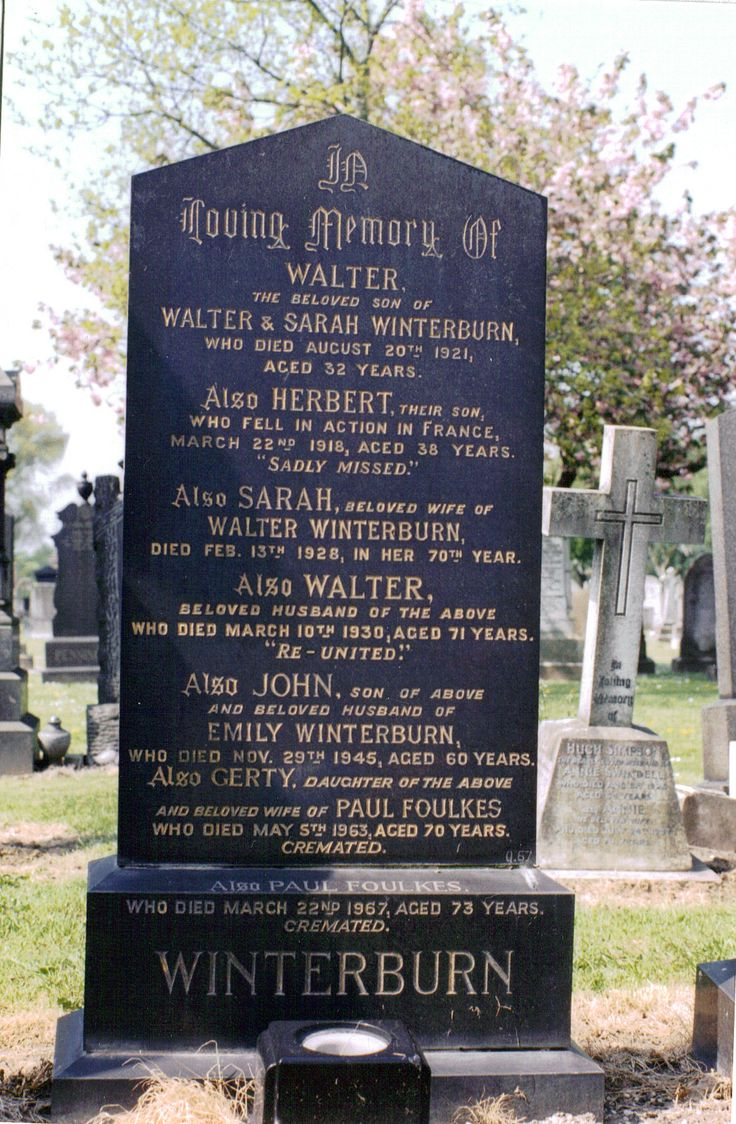 Winterburn Family Grave - Gorton Cemetary, Hyde Road, Gorton, Manchester,England. - My Great Grandparents, Walter & Sarah (nee Scholfield) Winterburn and their children.