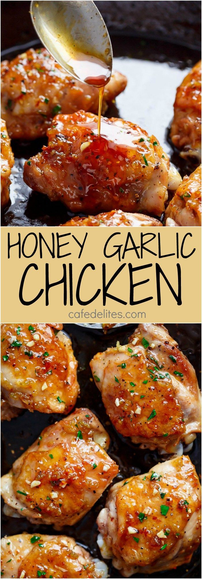 Sticky and Easy Honey Garlic Chicken made simple, with the most amazing 5-ingredient honey garlic sauce that is so good you'll want it on everything! Quick & easy weeknight dinner | cafedelites.com