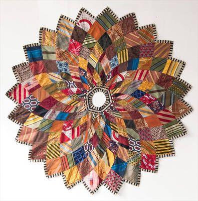 ~ Kaleidoscope Christmas Tree Skirt ~ Made of Men's Neckties....