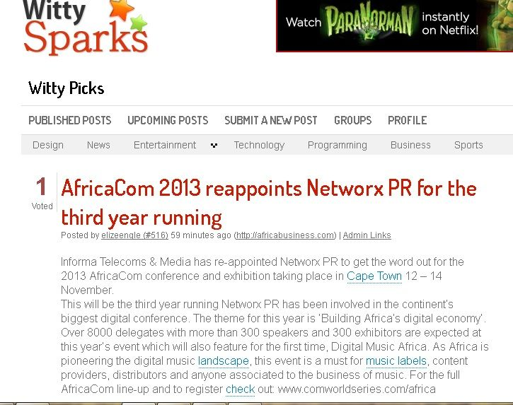 #AfricaCom 2013 #reappoints #NetworxPR for the third year running