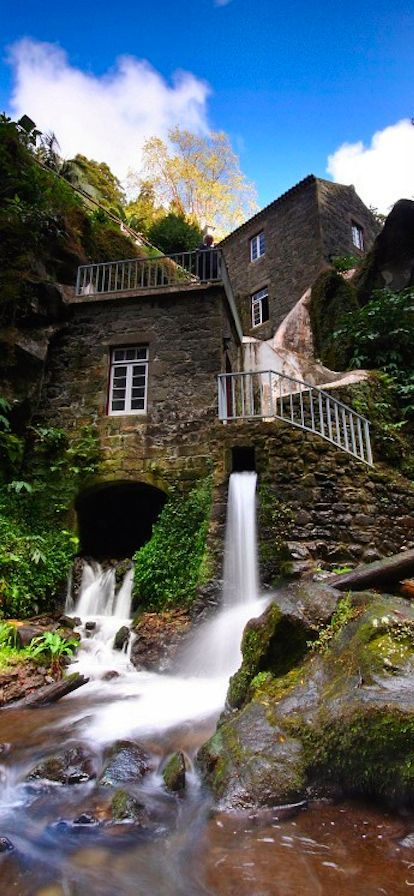 Picturesque water mill in São Miguel, Açores Islands #Portugal