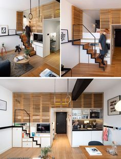 13 Stair Design Ideas For Small Spaces // This staircase pulls out when it's needed but tucks back into the wall when it isn't. This creates more space in the apartment but still makes getting up to the sleeping area easy.