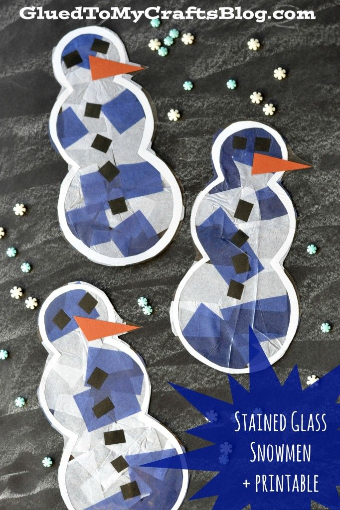 Stained Glass Snowmen + Printable winter art fine motor