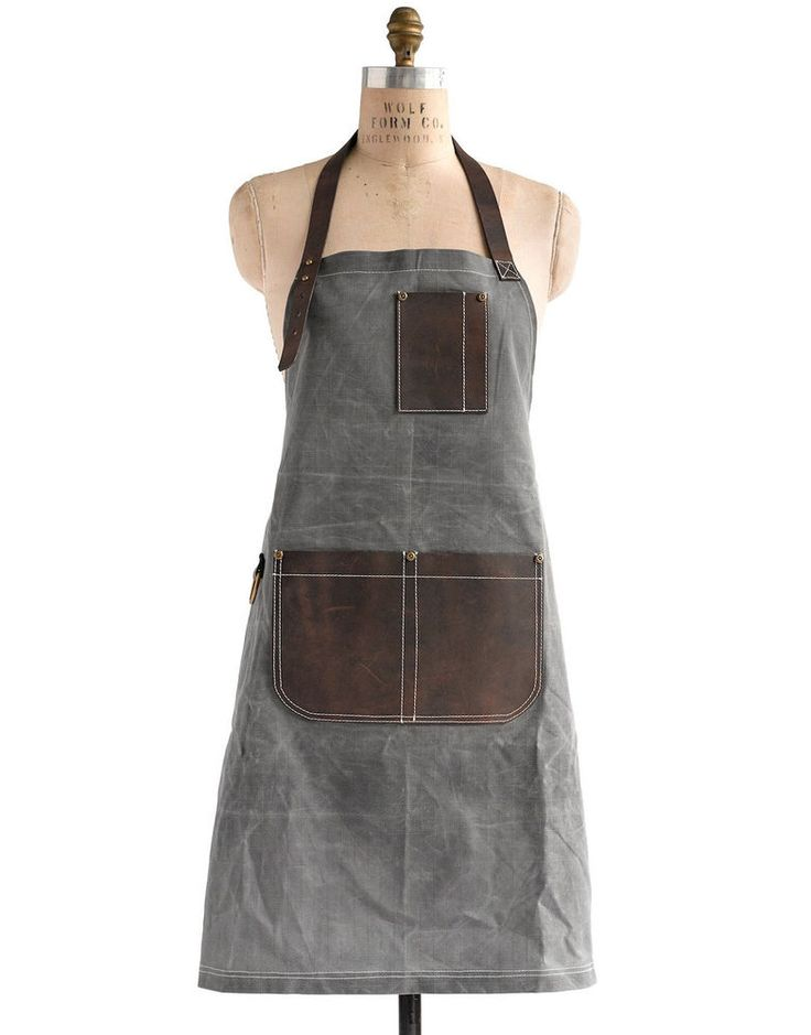 Birdkage: Peyton Utility Long Bib Apron in Wax Canvas & Leather, 4 Colors #MarthaStewartAmericanMade #americanmadeebaysweeps