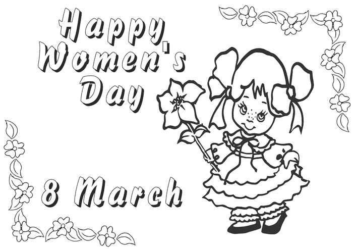 8th March Womens Day Coloring Pages
