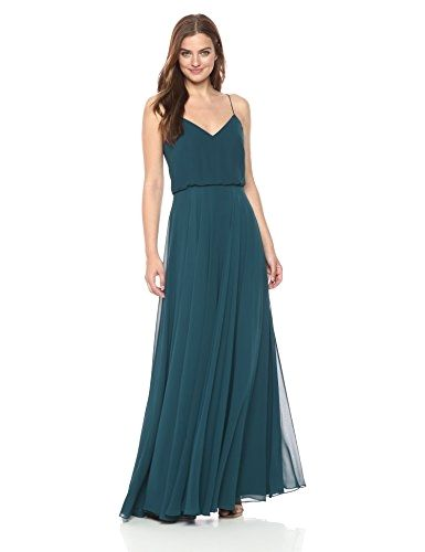 f67ca90e4d Outstanding Jenny Yoo Women s inesse Thin Strap V Neck Long Chiffon Gown