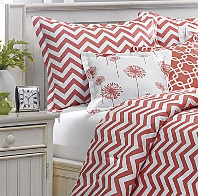 Picture of Coral Chevron Bedding with Matching Pillow Sham