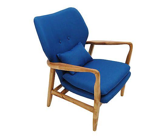 Poltrona Leblon - Azul MATERIAL Estrutura: Madeira de Carvalho Americano / Estofado: Espuma D-28 Revestida em Linhão / Acabamento: Verniz MEDIDAS Largura: 63 cm x Altura: 85 cm x Profundidade: 79 cm