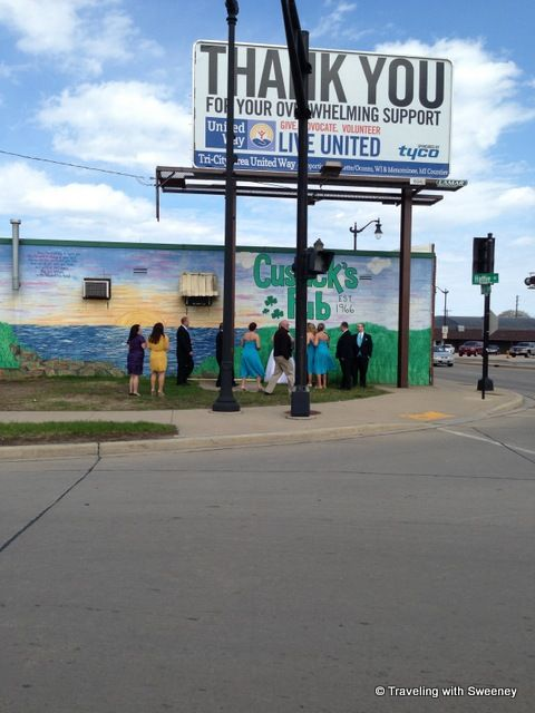 """""""Wedding party outside of Cusack's Pub, downtown Marinette, Wisconsin"""""""