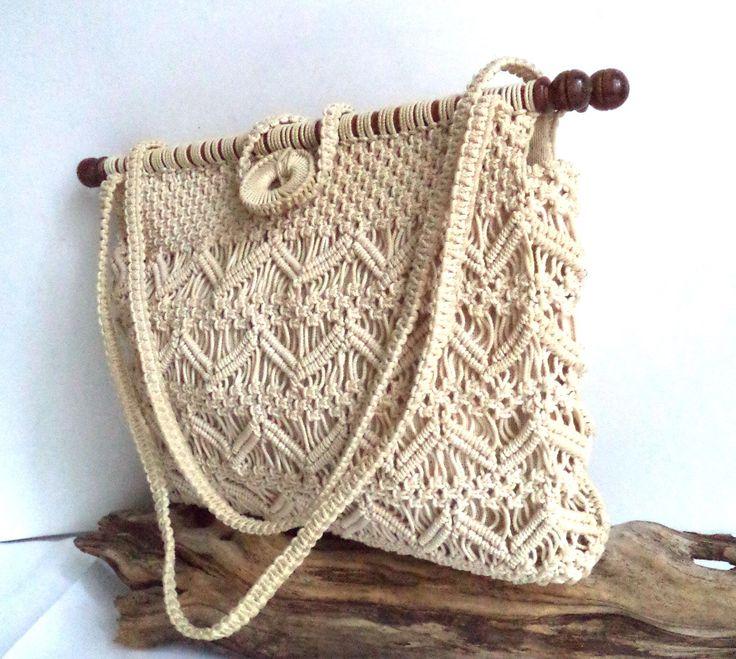60s Crochet Macrame Bag Ivory Ecru Tote Boho Retro Handmade Purse Wooden Dowel Beach Shopping GoGo Handbag Gift Medium by MushkaVintage3 on Etsy