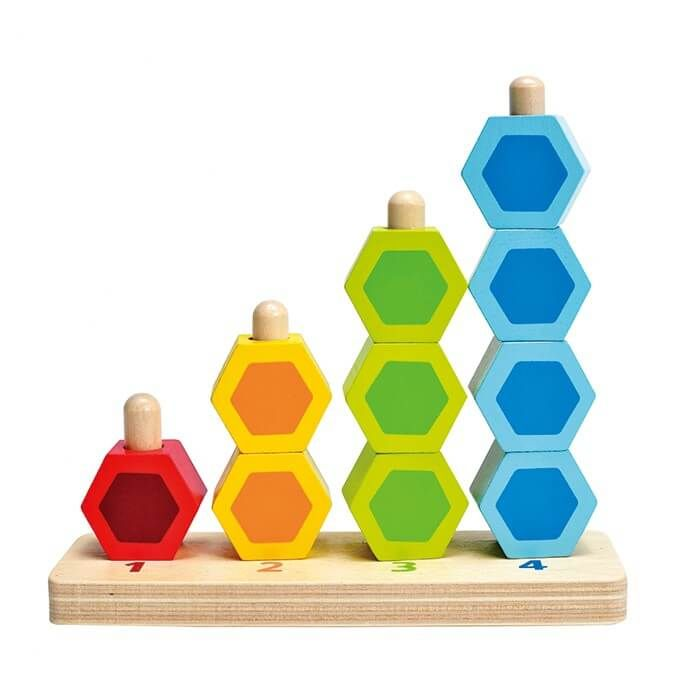 Create towers of fun with this colorful stacker. Count the pieces. Name the colours. Talk about concepts such as taller and shorter/ bigger and smaller when making stacks of beads.