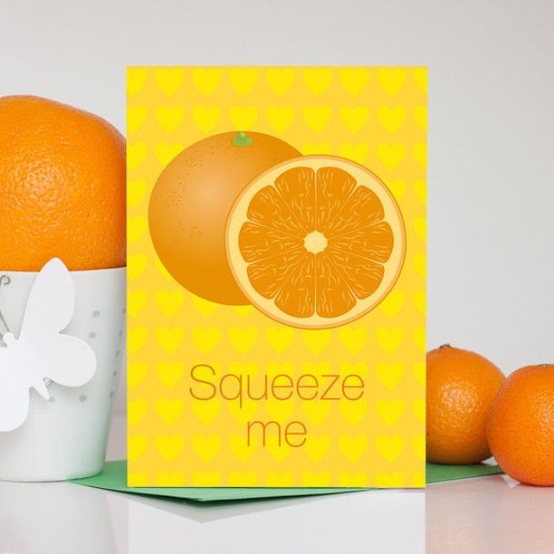This orange funny romantic card / squeeze me love card is fab for a romantic occasion!  Check out more bight and colorful card over at @colourtheirday . #summer #orange #card #handmade #romantic #colorful #handmadeology #etsy