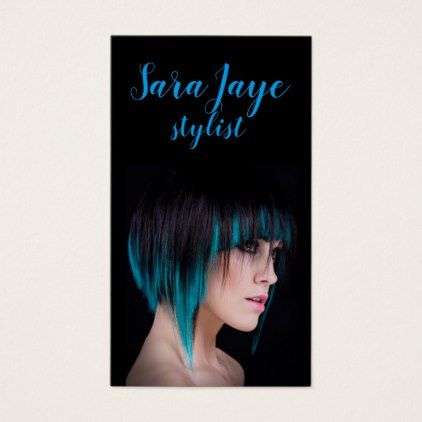 Salon Stylist Business Cards Bright Teal on Black - consultant business job profession diy customize