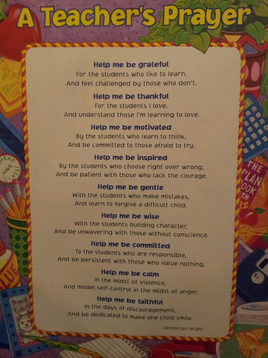 A teachers prayer | Activites for the Class | Pinterest