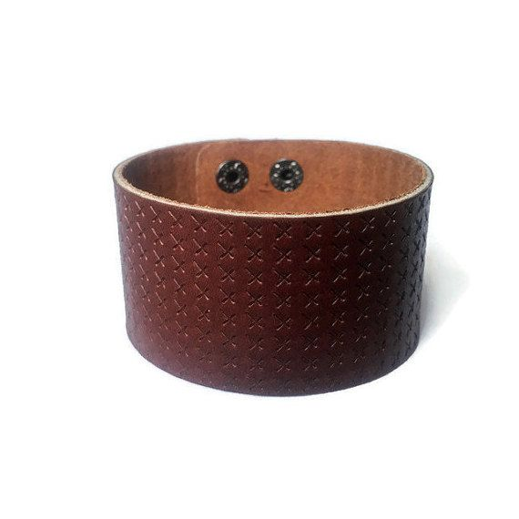 X Marks the Spot Bracelet Brown Leather Cuff by BriAndAshStore