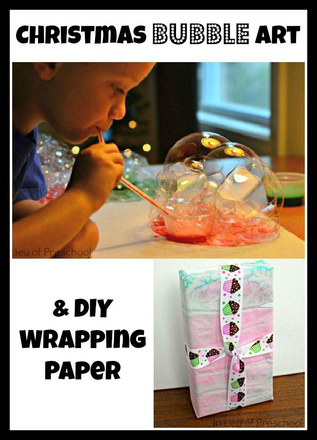 In Lieu of Preschool: Christmas Bubble Art & DIY Wrapping Paper