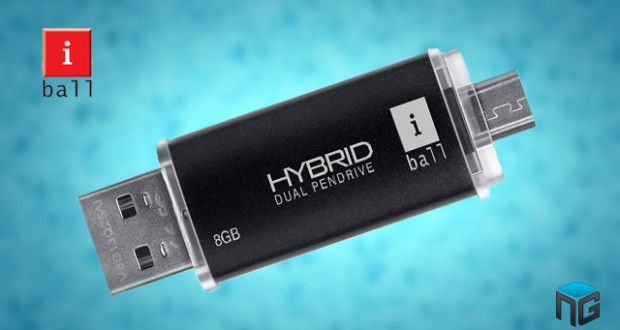 iBall Hybrid Dual connecting Pendrive has launched by iBall in India  iBall company recently has launched a piece of Hybrid Pendrive, coming with dual connector. This device one side had standard USB 2.0 and on other side had micro USB connector,so both options kept in Hybrid Pen Drive.