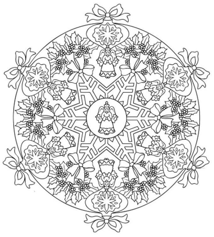 Mandala 616, Christmas Designs 3D Coloring Book, Dover Publications