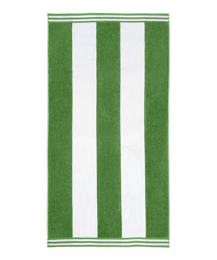 Dark Green Cabana Stripe Oversized Beach Towel