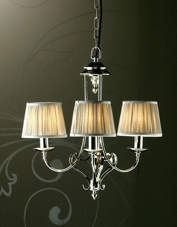 Zoya 3 Light Nickel Chandelier