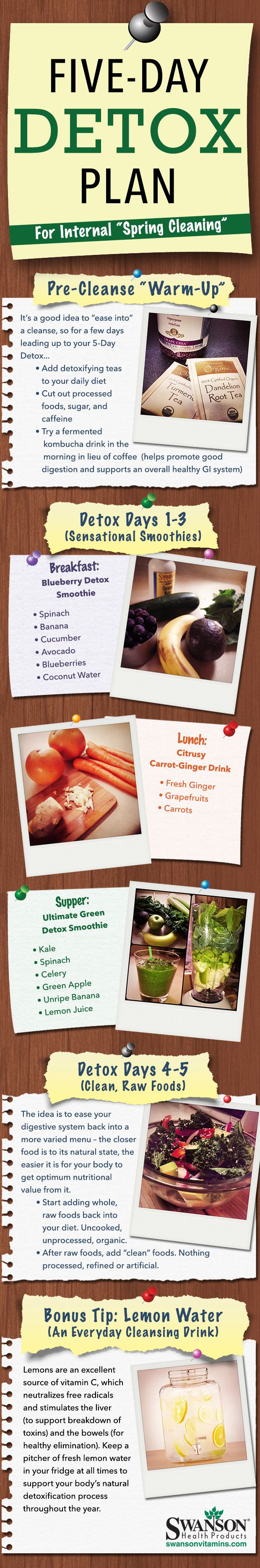 5 Day Detox Plan for Internal Spring Cleaning! Recipes & more. #detox_plan #recipes #health